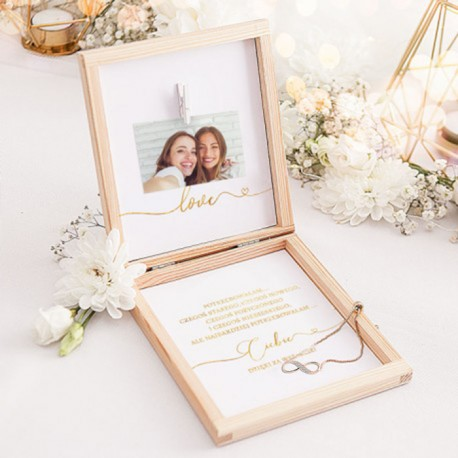 PREZENT dla Świadkowej w drewnianym pudełku Bransoletka Only Love