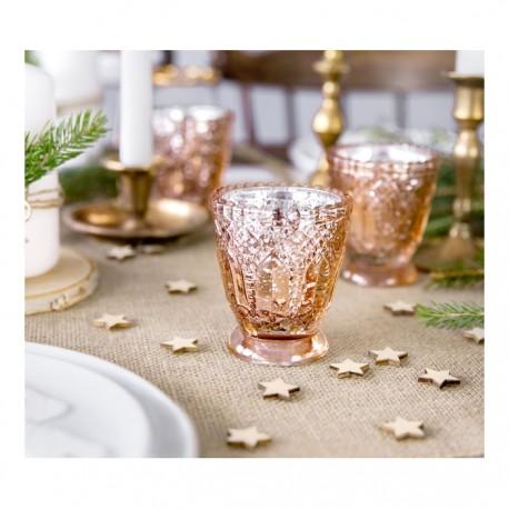 ŚWIECZNIKI Kryształowe Różowe Złoto Zestaw 4szt
