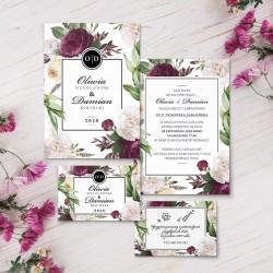 ZAPROSZENIE ślubne personalizowane Purple Peony