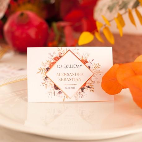 BILECIK podziękowanie personalizowany dla gości Barwy Jesieni