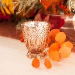ŚWIECZNIKI Nowoczesne Szklane Tealighy Różowe Złoto 4szt