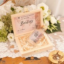 PREZENT dla Świadka w drewnianym pudełku KACÓWKA Kolekcja Lawenda