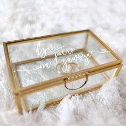 SZKATUŁKA szklana na obrączki prostokątna ZŁOTA Na Zawsze