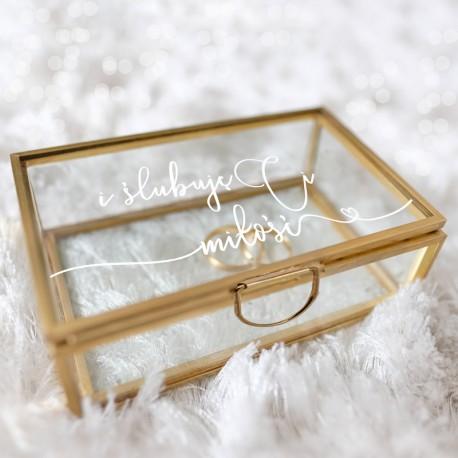 SZKATUŁKA szklana na obrączki prostokątna ZŁOTA Ślubuję Ci