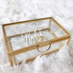 SZKATUŁKA szklana na obrączki prostokątna ZŁOTA Z IMIONAMI