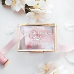 SZKATUŁKA szklana na obrączki prostokątna ZŁOTA personalizowana Biała Gałązka