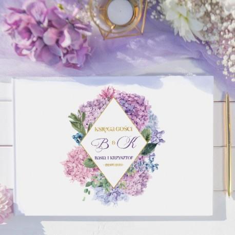 KSIĘGA GOŚCI weselnych Subtelna Hortensja BIAŁE/CZARNE KARTKI