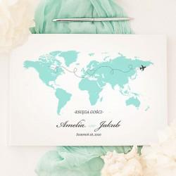 KSIĘGA GOŚCI personalizowana Podróż Poślubna CZARNE / BIAŁE KARTKI