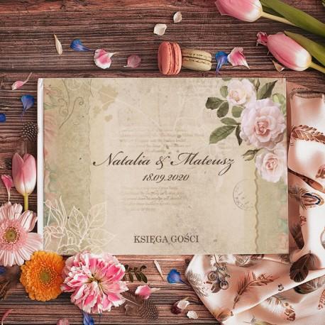 KSIĘGA GOŚCI weselnych Róże Vintage BIAŁE KARTKI