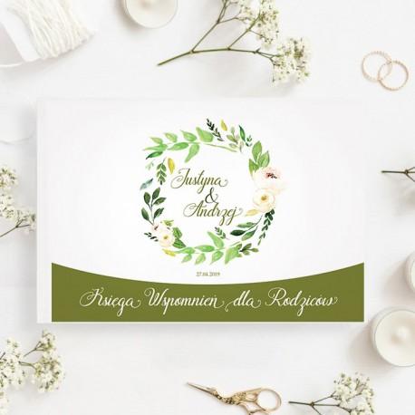 KSIĘGA wspomnień dla Rodziców Subtelna Hortensja BIAŁE/CZARNE KARTKI