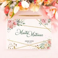 KSIĘGA GOŚCI weselnych Geometric Rose BIAŁE/CZARNE KARTKI