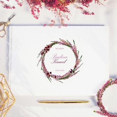 KSIĘGA GOŚCI weselnych Polne Wrzosy BIAŁE/CZARNE KARTKI