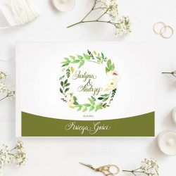 KSIĘGA GOŚCI weselnych Zielony Wianek BIAŁE/CZARNE KARTKI