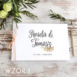 KSIĘGA GOŚCI weselnych Gałązka Miłości BIAŁE/CZARNE KARTKI