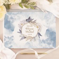KSIĘGA GOŚCI weselnych Coś Niebieskiego BIAŁE/CZARNE KARTKI