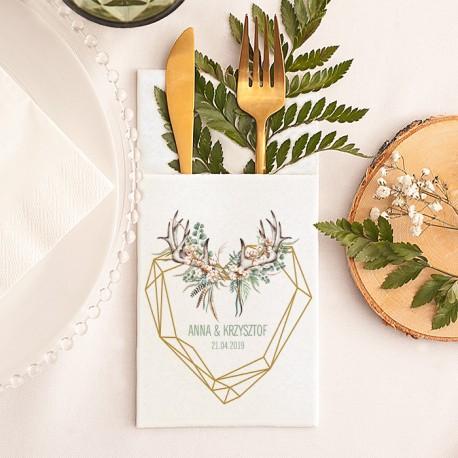 KIESZONKA na sztućce biała Boho Wedding Z IMIONAMI