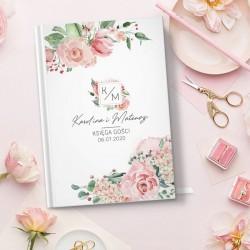 KSIĘGA GOŚCI wspomnienia ślubne Pastelowe Róże A5
