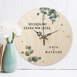 ZEGAR drewaniany prezent ZEGAR drewaniany prezent dla Pary Młodej Świeży Eukaliptus Z IMIONAMI