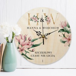 ZEGAR drewniany prezent dla Pary Młodej Różowe Magnolie Z INICJAŁAMI