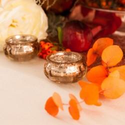 ŚWIECZNIKI Pękate Eleganckie Szklane Różowe Złoto 4szt