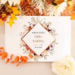 KSIĘGA GOŚCI weselnych Barwy Jesieni BIAŁE/CZARNE KARTKI