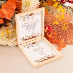 PUDEŁKO drewniane Podziękowanie za Błogosławieństwo Barwy Jesieni z IMIONAMI