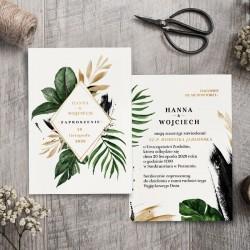 ZAPROSZENIE ślubne personalizowane Greenery Gold