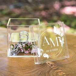 SZKATUŁKA na obrączki szkło akrylowe personalizowana Inicjały
