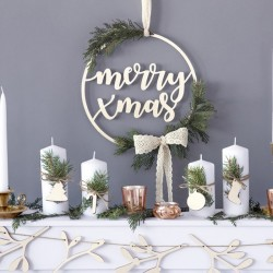 NAPIS drewniany świąteczny bożonarodzeniowy Merry Xmas 28cm