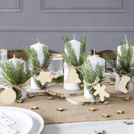 ZAWIESZKI drewniane Wesołe Święta do prezentów/dekoracji 12szt