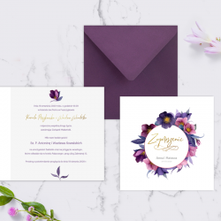 ZAPROSZENIE ślubne personalizowane Fioletowe Kwiaty