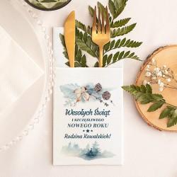 KIESZONKA na sztućce świąteczna personalizowana Zimowa Gałązka