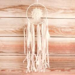 ŁAPACZ SNÓW do dekoracji biały koronkowy 65cm