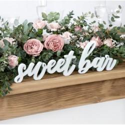 NAPIS drewniany Sweet Bar BIAŁY