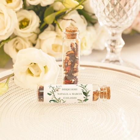 BUTELECZKA szklana z korkiem Delikatne Lilie (+etykieta+herbata)