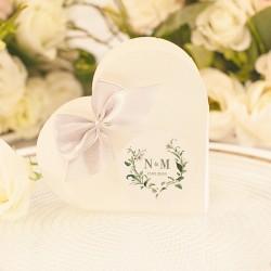 PUDEŁECZKA serca personalizowane 10szt Delikatne Lilie (+białe wstążki)