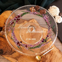 PATERA na Ciasto Prezent Ślubny Polne Wrzosy
