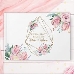KSIĘGA GOŚCI weselnych Geometric Dream BIAŁE/CZARNE KARTKI