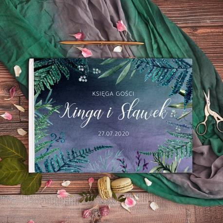 KSIĘGA GOŚCI weselnych Botanica Dark BIAŁE/CZARNE KARTKI