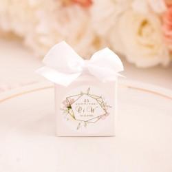 PUDEŁECZKA kwadrat Rocznica Ślubu 10szt (+etykiety+kokardki)