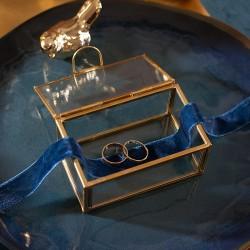 SZKATUŁKA szklana na obrączki prostokątna Kolekcja Granatowa ZŁOTA Z IMIONAMI