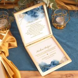 PUDEŁKO drewniane Prośba o Błogosławieństwo Kolekcja Złoto-Granatowa z IMIONAMI