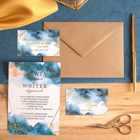 ZAPROSZENIE ślubne personalizowane Kolekcja Złoto-Granatowa