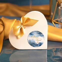 PUDEŁECZKA SERCA personalizowane Złoto-Granatowe 10szt (+etykiety+kokardki)