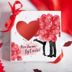BOMBONIERKA z czekoladkami na zaręczyny Czerwone Serca