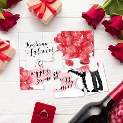 PUZZLE na zaręczyny Czerwone Serca