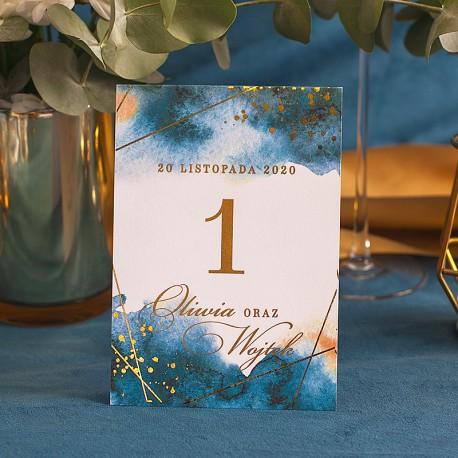 TABLICZKA na stolik z personalizacją Kolekcja Złoto-Granatowa