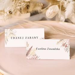 WIZYTÓWKA personalizowana z nazwiskami gości jako element papeterii ślubnej. Trawa pampasowa to najmodniejszy dodatek sezonu.