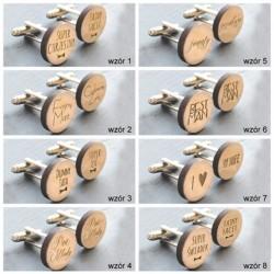 SPINKI do mankietów drewniane PREZENT