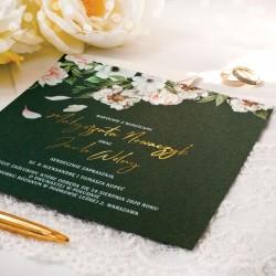 ZAPROSZENIE ślubne personalizowane Kremowe Kwiaty ze złoceniem